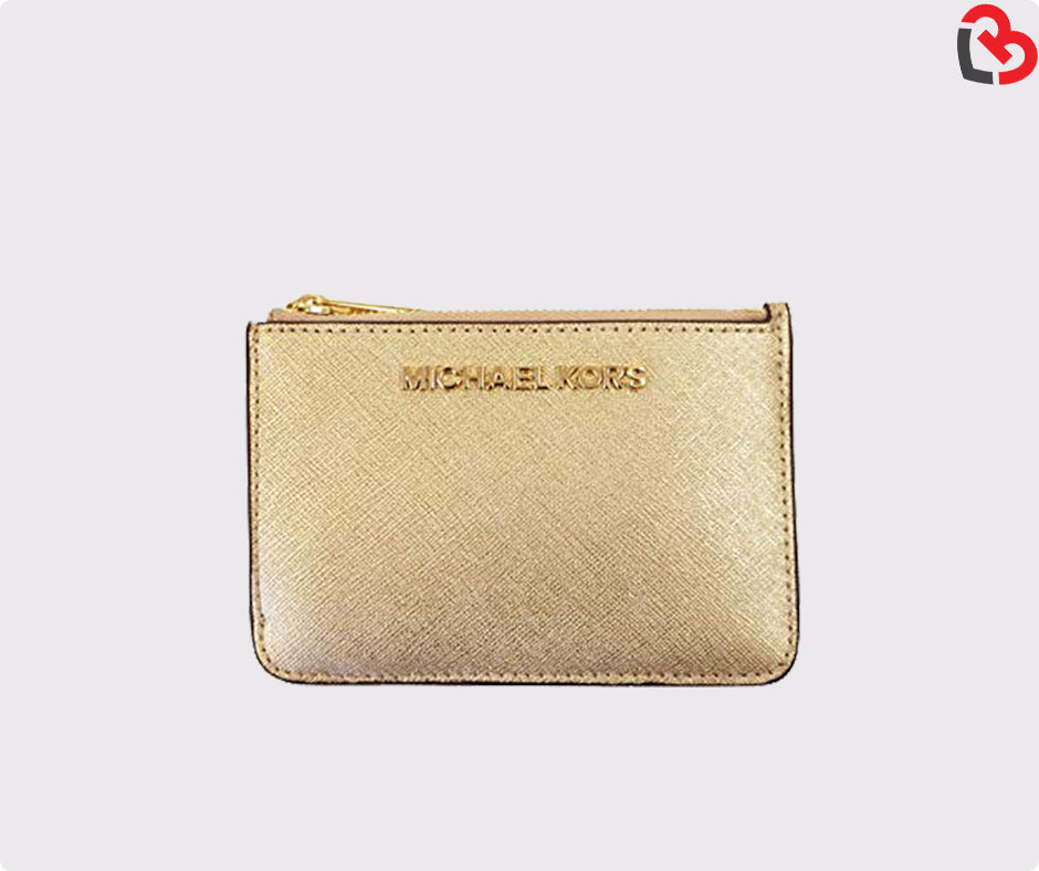 a1f8d612bf60df Michael Kors Gold Saffiano Leather Jet Set Small TZ Coin Pouch Card Case