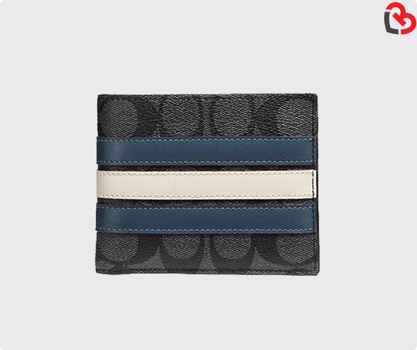 Coach 3-In-1 Wallet In Signature Canvas With Varsity Stripe Black