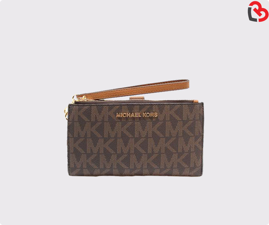 9d73e6a8 Michael Kors Jet Set Travel Double Zip Wallet Brown/Acorn