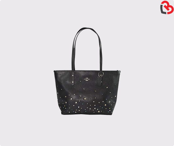 Coach City Zip Tote With Stardust Studs (F22299)