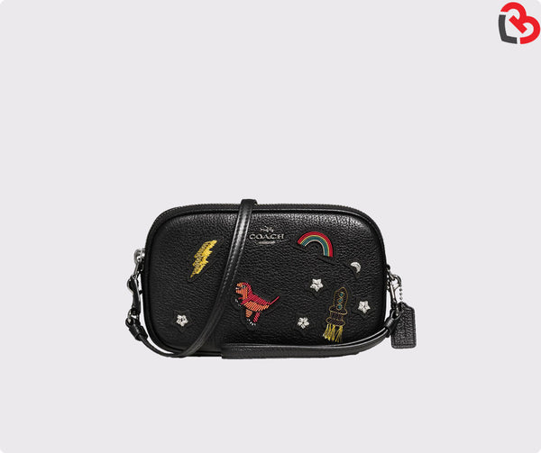 Coach Crossbody Clutch In Grain Leather With Souvenir Embroidery F57866