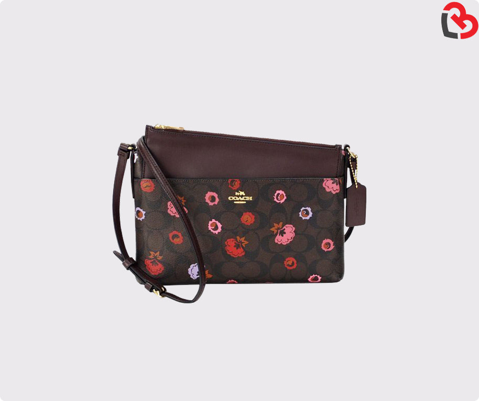 clearance hot-selling genuine quite nice Coach East/West Crossbody With Pop-Up Pouch With Primrose Floral ( F24373)