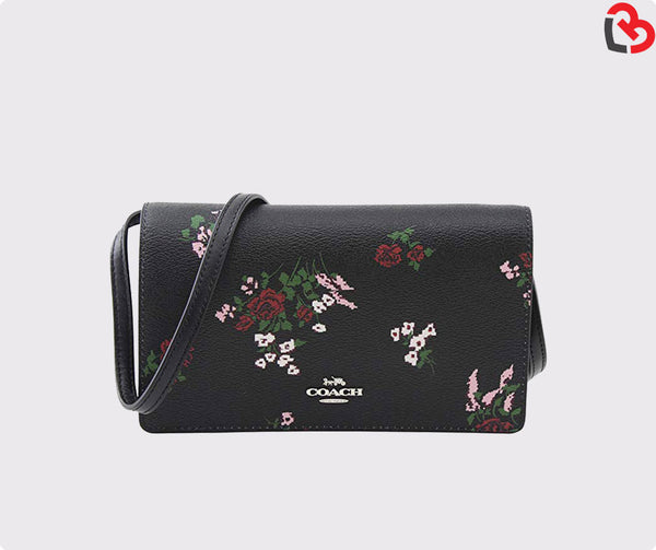 Coach Foldover Crossbody Clutch with Cross Stitch Floral Print