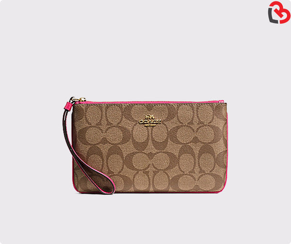 Coach Large Wristlet In Signature(F58695)