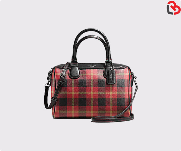 Coach Mini Bennett Satchel In Riley Plaid Coated Canvas (F55446)
