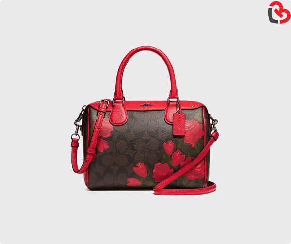 Coach Mini Bennett Satchel With Camo Rose Floral Print (F25870)
