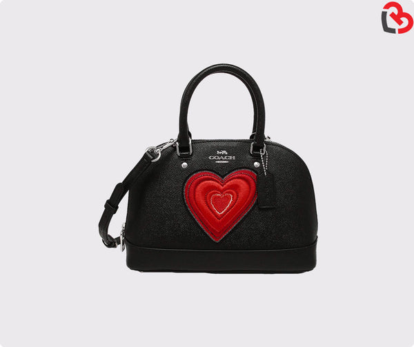 Coach Mini Sierra Satchel With Heart Embroidery Black (F24609)