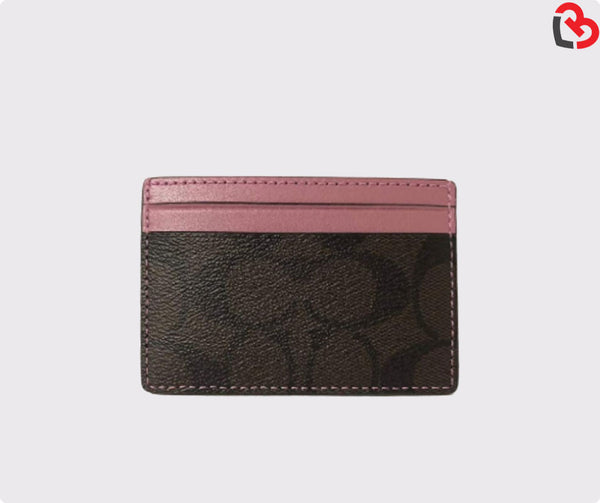 Coach Dusty Rose Card Case In Signature Canvas (F63279)