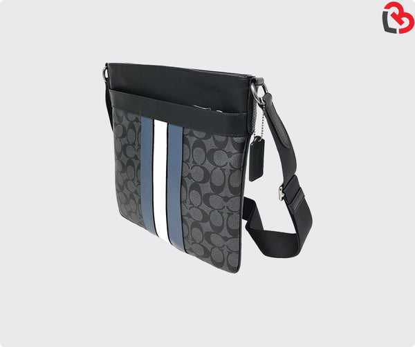 Coach Charles Crossbody in Signature Canvas with Varsity Stripe Black