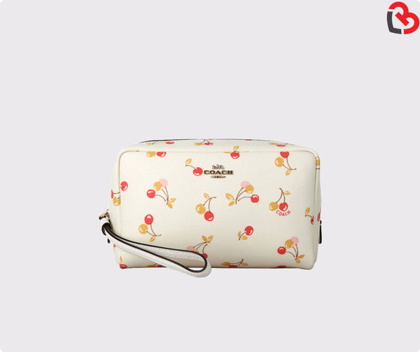 Coach Cherry Print Boxy Cosmetic Makeup Travel Bag Chalk