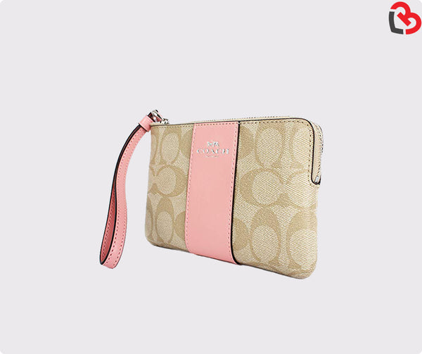 Coach Corner Zip Wristlet In Signature Coated Canvas With Leather Stripe