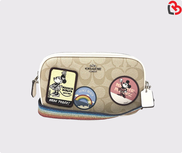 Coach Crossbody Pouch In Signature Canvas With Minnie Mouse Patches