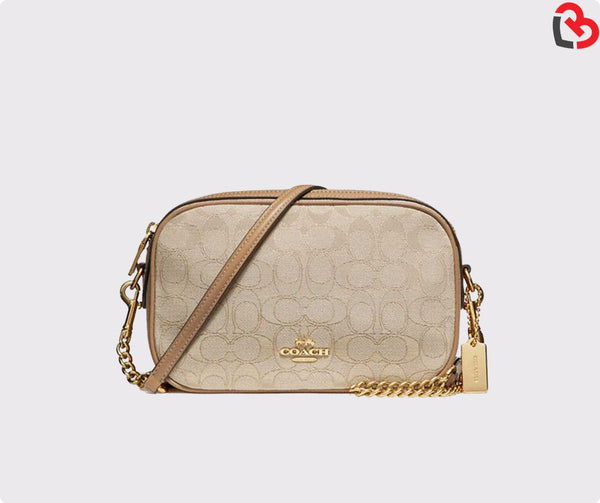 Coach Light Khaki Isla Chain Crossbody in Signature Jacquard