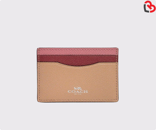 Coach  Pink Silver Multi Card Case In Colorblock