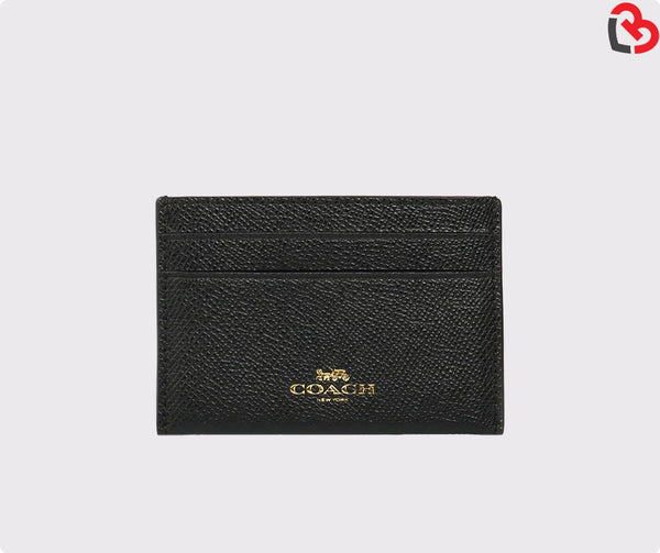 Coach Plain Leather Card Holders Black