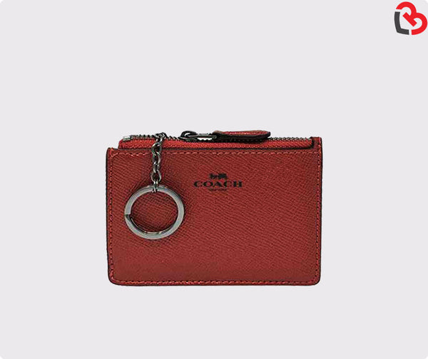 Coach Skinny Mini Wallet ID Card Case Crossgrain Leather Metallic Hot Pink