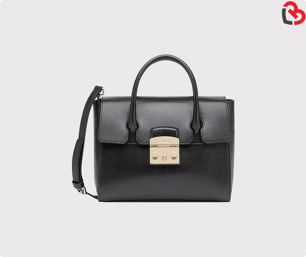 Furla Black Metropolis Leather Small Satchel Bag Black