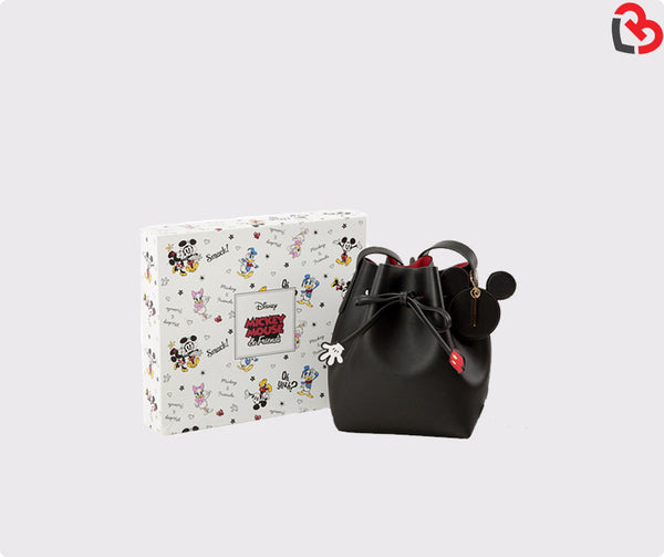 Grace Gift Mickey drawstring cylinder bag Black