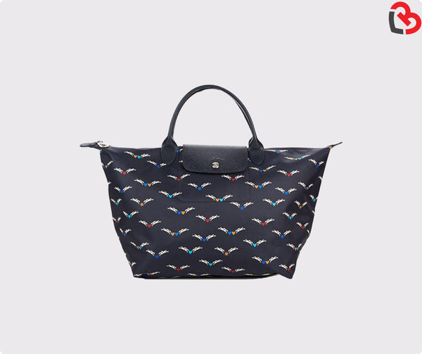 Longchamp Le Pliage Chevaux Ailes Medium Tote Black