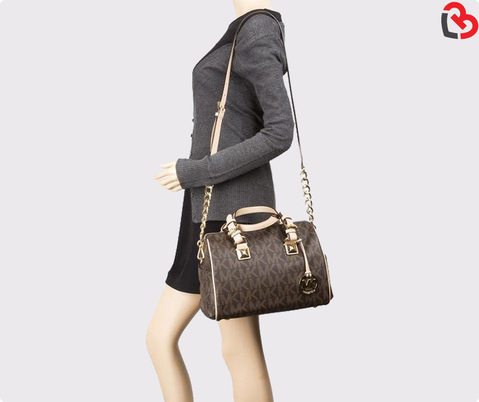 986642f62ff7 Michael Kors Dark Brown Grayson Medium Logo Satchel | Lovebite MY