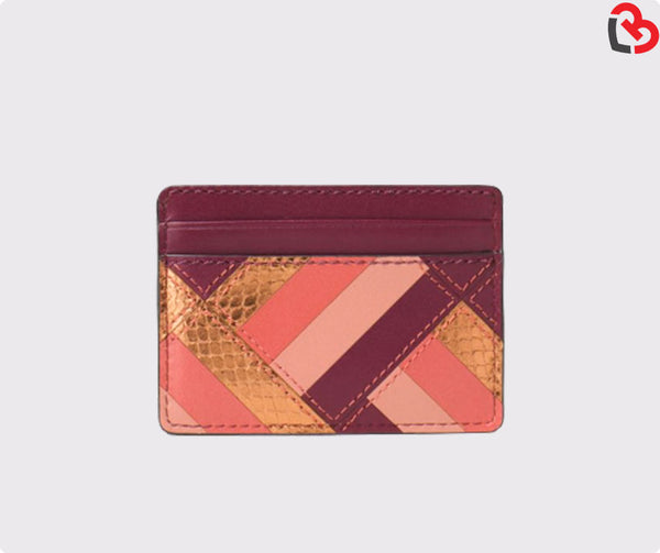 Michael Kors Red Patchwork Leather Flat Card Case