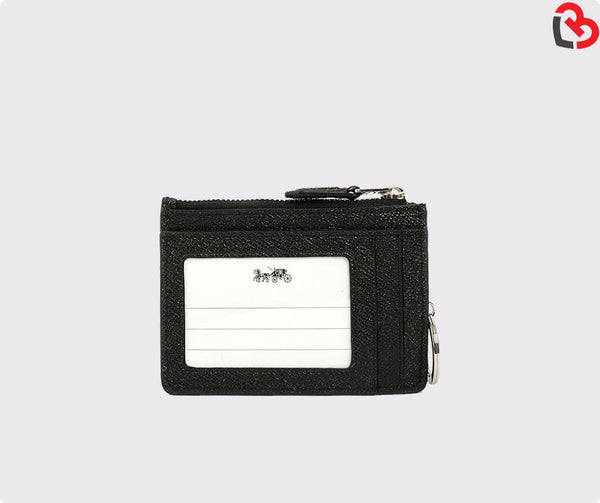 Coach Mini ID Skinny Key Chain Case Leather Glitter Black