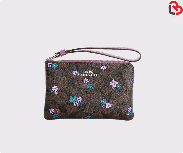 Coach Corner Zip wristlet In Signature Cranch Floral Coated Canvas (F59824)