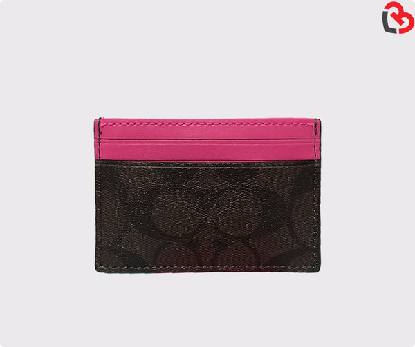 Coach Brown Hot Pink Card Case In Signature Canvas