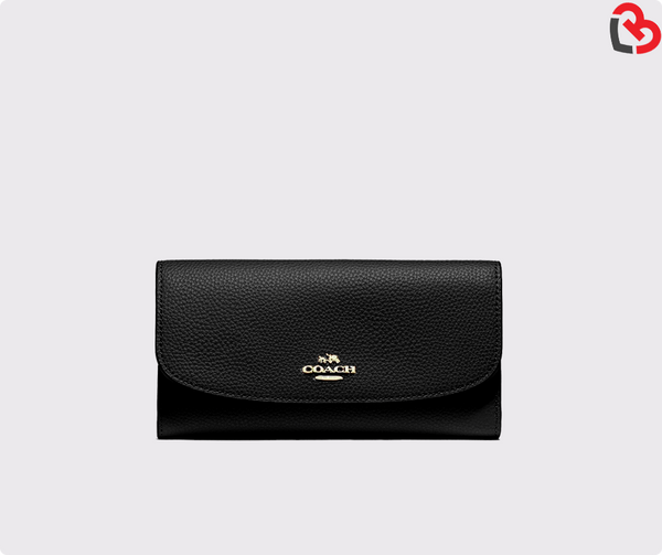 Coach Pebbled Leather Checkbook Wallet Clutch