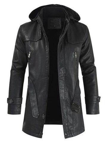 Mid-Length Hooded Plain Leather Jacket/Coat