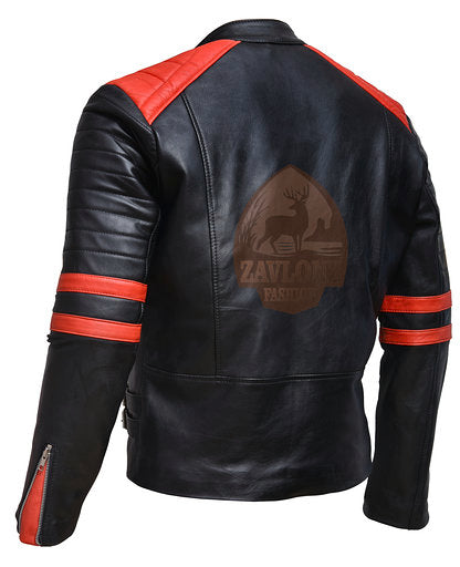 Brando Black Red Genuine Leather Biker Jacket
