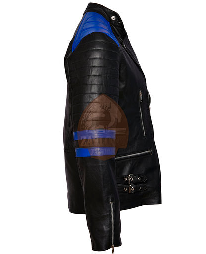 Brando Black Blue Genuine Leather Biker Jacket