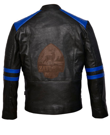 Brando Black & Blue Leather Biker Jacket