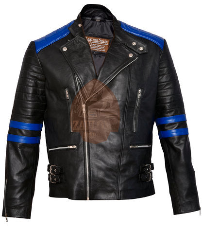 Brando Black & Blue Genuine Leather Biker Jacket
