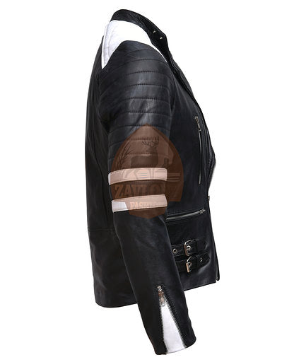 Brando Black & White Leather Biker Jacket
