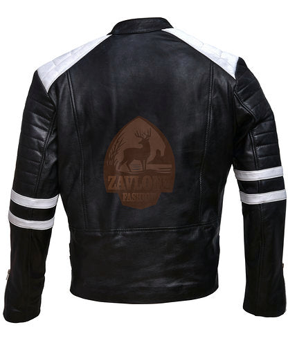 Brando Black White Genuine Leather Biker Jacket