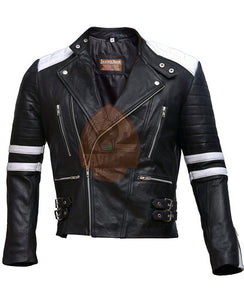 Brando Black & White Genuine Leather Biker Jacket