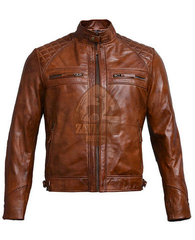 Cafe Racer Leather Jacket Quilted Vintage Distressed