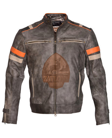 Cafe Racer Retro 2 Distressed Real Leather Biker Jacket