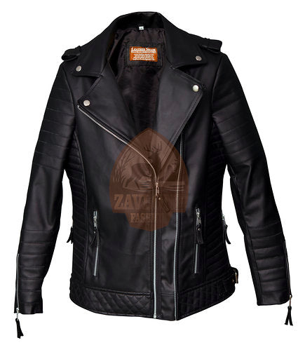 Black Women's Slim Fit Biker Diamond Quilted Leather Jacket