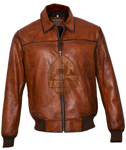 Vintage Distressed Brown Bomber Leather Jacket
