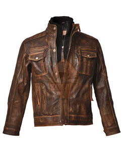 Cafe Racer 2 Distressed Brown Genuine Leather Jacket