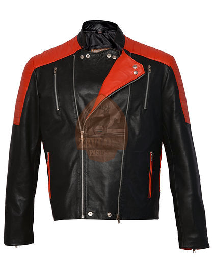 Genuine Leather Biker Jacket New Brando Black & Red