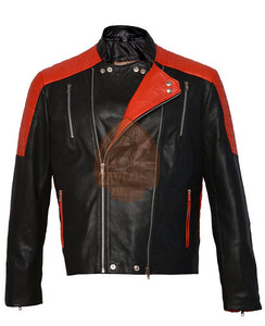 Genuine Leather Biker Jacket  - New Brando Black & Red 2020