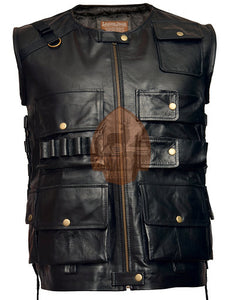 Genuine Leather Vest Black - WWE The Shield Roman Reigns Tactical