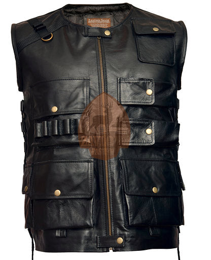 Genuine Leather Vest Black - WWE The Shield Roman Reigns Tactical 2020