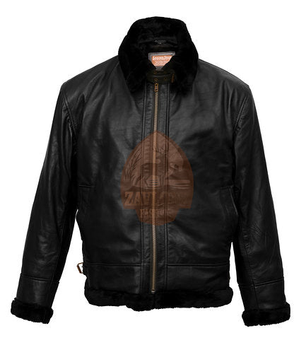 WW 2 B3 Bomber Pilot Flight Aviator Flying Bomb Leather Jacket Black