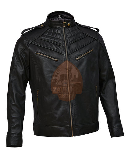 Buy Retro Moto Distressed Leather Jacket Triple Stitch