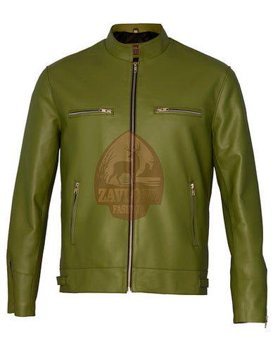Green, Yellow or Blue Biker Faux Leather Jacket 2020