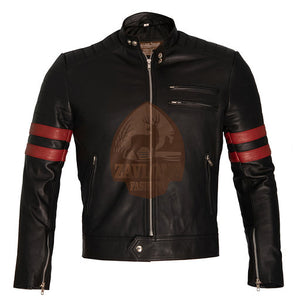 Fight Club Retro Mayhem Biker Leather Jacket Black with Red Stripes